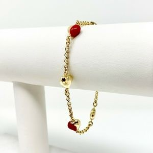 """Jewelry - 14k Gold and Red Enamel Heart Cable Bracelet 7.25"""""""